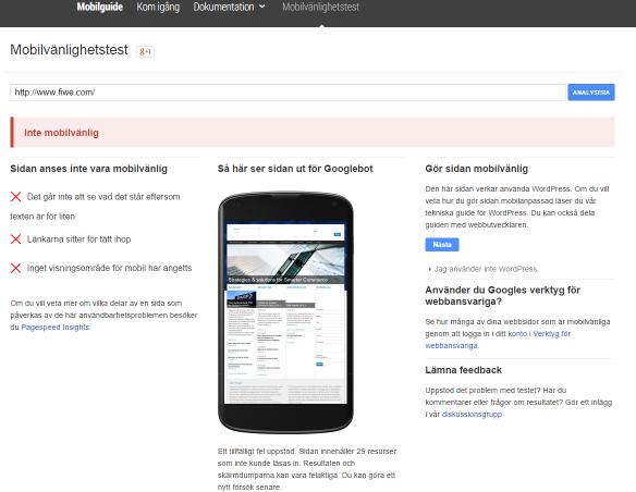 Mobilvänlighets test Google